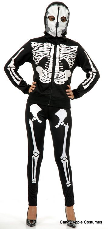 Full zip skeleton print sweatshirt hoodie with see-thru face mask (with the hood up, zipped all the way up the hood, you can see through). It is very versatile.