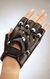Studded Fingerless Biker Gloves