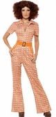 Women's 70's Chic Orange Print Jumpsuit Costume