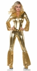 Women's Gold Disco Jumpsuit Costume