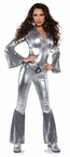 Women's Silver Foxy Disco Jumpsuit Costume