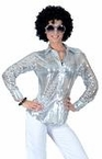 Women's Silver Stardust Sequin Disco Blouse