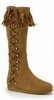 Women's Tan Fringed Knee High Indian Boots