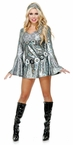 Women's Silver Disco Queen Dress Costume