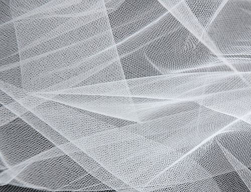"""54"""" X 120 FT Crystal White Fine Mesh Nylon Tulle Fabric By"""