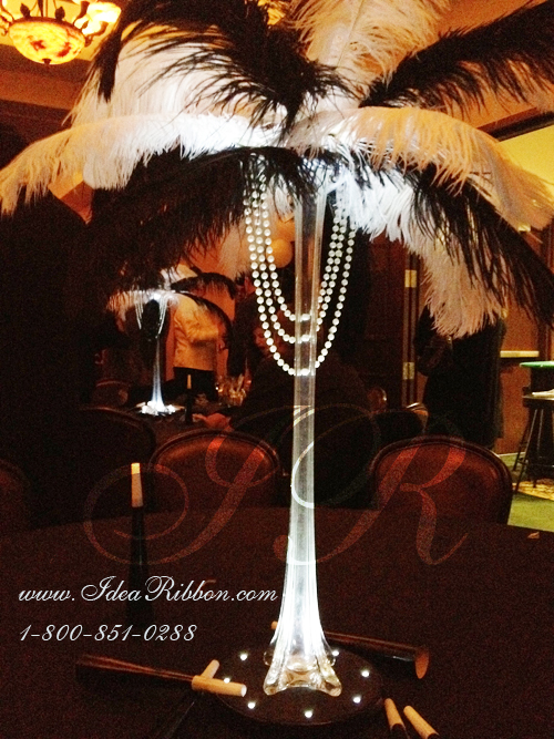 18 Quot Ostrich Feathers 12 Set With 20 Quot Eiffel Tower Vase