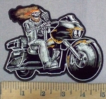 1783 G - Hippie Skeleton Rider -  Riding Motorcycle With Middle Finger  - Embroidery Patch
