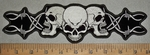 3537 G - 3 Skulls With Barb Wire - Back - Embroidery Patch
