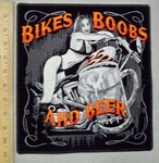 2997 N - Bikes, Boobs And Beer - Biker Chick On Motorcycle - Back Patch - Embroidery Patch