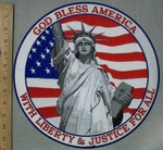 3586 W - God Bless America With Liberty & Justice For All - Statue Of Liberty With American Flag- XL Back Patch - Embroidery Patch