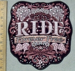 3621 G - Rhinestone Bling - RIDE  Forever Free Floral Sheild - Back Patch - Embroidery Patch