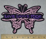 3671 L - Pink Butterfly - Live - Love - Ride - Purple - Back Patch - Embroidery Patch