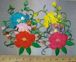 3673 C - Individual Multi Colored Flowers -  Roses - 6 Colors Available - $ 4.99 each - Embroidery Patch