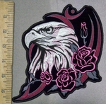 3698 G - Eagle With Pink Roses - Back Patch - Embroidery Patch