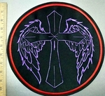 3748 L - Cross With Angel Wings - Round - Back Patch - Embroidery Patch