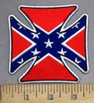 3750 N - R - Confederate Flag Iron Cross - Chopper Logo - Embroidery Patch