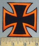 3758 W - Orange And Black Iron Cross - Chopper Logo - Embroidery Patch
