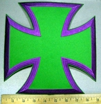 3775 N - Purple And Green Iron Cross - Chopper Logo - Embroidery Patch