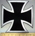 3776 N - Silver And Black Iron Cross - Chopper Logo - Embroidery Patch