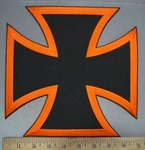 3777 N - Orange And Black Iron Cross - Chopper Logo - Back Patch - Embroidery Patch