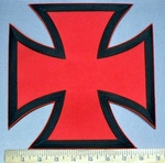 3778 N - Red And Black Iron Cross - Chopper Logo - Back Patch - Embroidery Patch