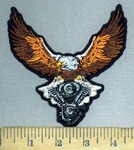 3792 G - Spread Egle Carrying V- Twin Engine - Embroidery Patch