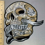 3802 G - Off White Skull Face With Ride Forever Waving Banner - Back Patch - Embroidery Patch -