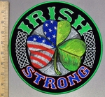 3804 G - Irish Strong - Half American Flag Half Irish Three Leaf Clover - Round - Back Patch
