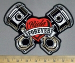 3809 G - V - Twin  Pistons Ride Forever Within Red Heart - Back Patch - Embroidery Patch