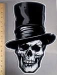 3810G - Skull Face With Top Hat - 15 Inch Back Patch - Embroidery Patch