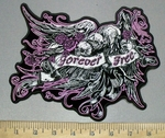 3814 G - Flying Eagle With Three Skulls, Purple Roses And Waving Banner Forever Free - Back Patch - Embroidery Patch
