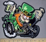3815 G - Happy Leprechaun Riding Motorcycle With A Beer - Back Patch - Embroidery Patch