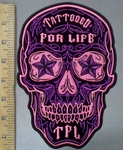 3821 G - Pink Sugar Skull Face With Tatooed For Life  In Forehead - Back Patch - Embroidery Patch