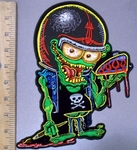 3826 G - Yellow Eyed -  Green Monster Painter - Back Patch - Embroidery Patch
