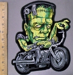 3827 G - Frankenstein Riding A Motorcycle - Back Patch - Embroidery Patch