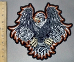 3828 G - Flying Eagle With Wrench And Bike Piston In Claws - Back Patch - Embroidery Patch