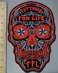 3830 G - Red Sugar Skull Face With Starry Eyes - Tatooed For Life In Forehead - Back Patch - Embroidery Patch