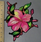 3832 G - Wild Pink Flower - Back Patch - Embroidery Patch