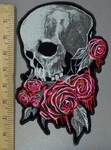 3834 G - Skull Face With Pink Roses - Back Patch - Embroidery Patch