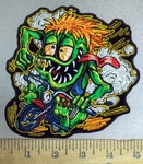 3859 G - Orange Haired -  Green Monster Riding Motorcycle - Embroidery Patch