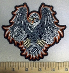 3862 G - Flying Eagle With Bike Piston And Wrench In Claws - Embroidery Patch