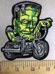 3863 G - Frankenstein Riding Motorcycle - Embroidery Patch