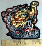 3865 G - Bulldog Riding Motorcyle - Embroidery Patch