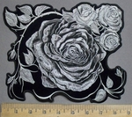 3904 G - Black And White Roses - Back Patch - Embroidery Patch
