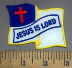 3947 W - Waving Christian Flag - Jesus IS Lord - Embroidery Patch