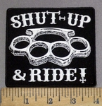 3949 G - Shut-Up & Ride! - Brass Knuckles- Embroidery Patch