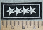 3040 L - 4 Stars - Gray Border - Embroidery Patch