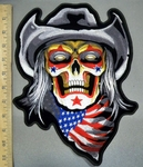 4028 G - Skull Face Wearing  Cowboy Hat -  With American Flag Bandana - Back Patch - Embroidery Patch