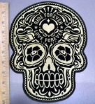 4029 G - Golden Sugar Skull - Rider Forever - Love Forever Tattooed In Forehead - Back Patch - Embroidery Patch