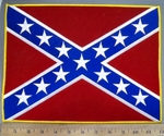 4053 R - Confederate Flag  - 12 Inch - Back Patch - Embroidery Patch